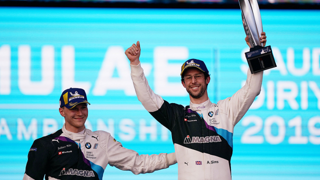 Alexander Sims celebrates with BMW i Andretti Motorsport teammate Max Guenther